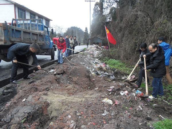 双河乡组织机关党员开展集镇环境卫生专项整治活动